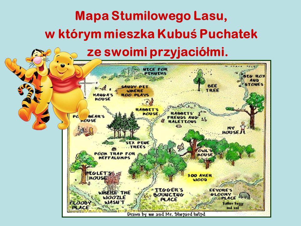Mapa Stumilowego Lasu, w którym mieszka Kubu ś Puchatek ze swoimi przyjació ł mi.