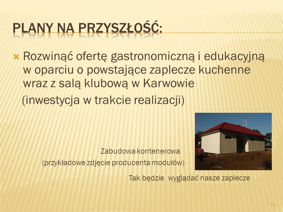  Rozwinąć ofertę gastronomiczną i edukacyjną w oparciu o powstające zaplecze kuchenne wraz z salą klubową w Karwowie (inwestycja w trakcie realizacji) Zabudowa kontenerowa (przykładowe zdjęcie producenta modułów) Tak będzie wyglądać nasze zaplecze 11