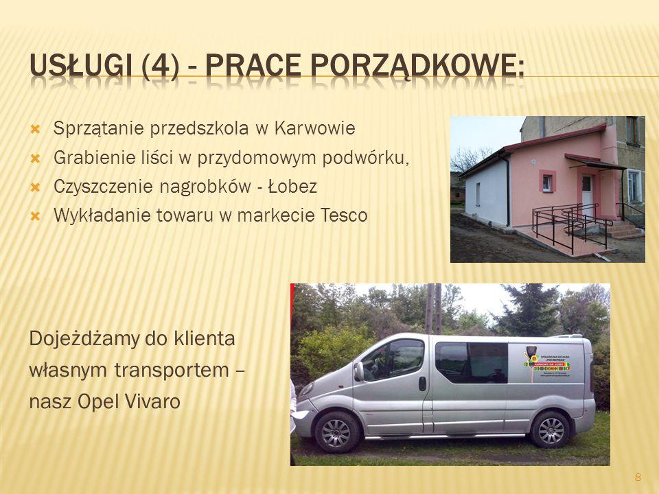  Sprzątanie przedszkola w Karwowie  Grabienie liści w przydomowym podwórku,  Czyszczenie nagrobków - Łobez  Wykładanie towaru w markecie Tesco Dojeżdżamy do klienta własnym transportem – nasz Opel Vivaro 8