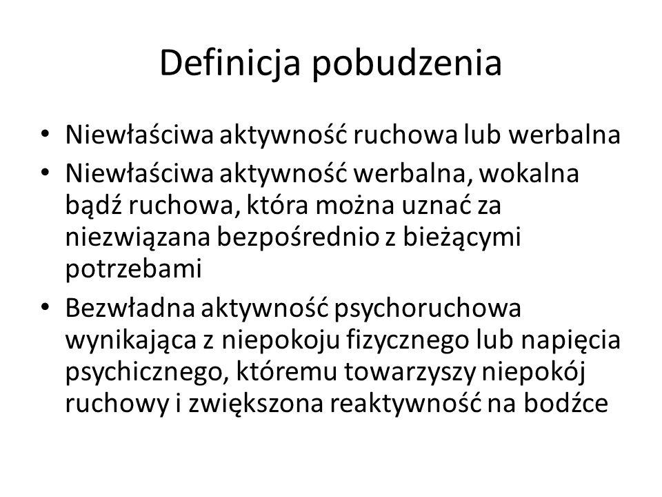 Definicja majaczenia Majaczenie – delirium – zaburzenie świadomości o ostrym przebiegu Zaburzenia kontaktu z otoczeniem Nieprawidłowa aktywność ruchowa Zaburzenia pamięci, spostrzegania i myślenia Zaburzenia emocjonalne ( pobudzenie hiperaktywne, hipoaktywne i stany mieszane) Zmienny, falujący przebieg