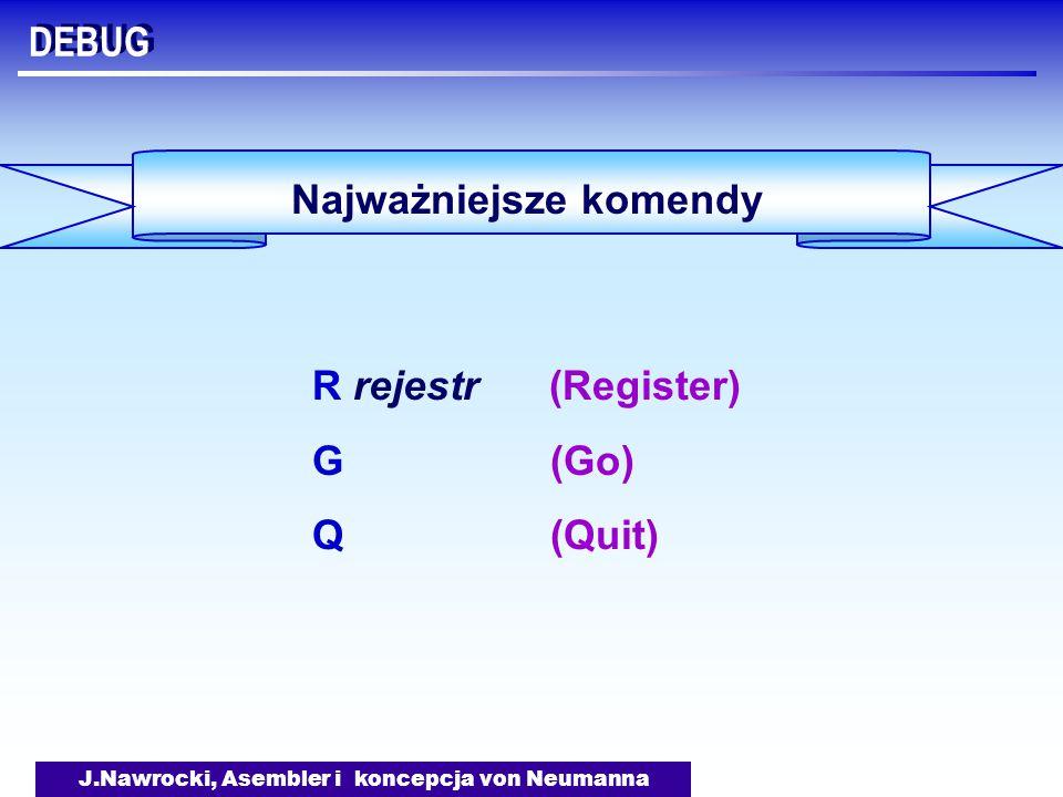 J.Nawrocki, Asembler i koncepcja von Neumanna DEBUG Najważniejsze komendy R rejestr (Register) G (Go) Q (Quit)