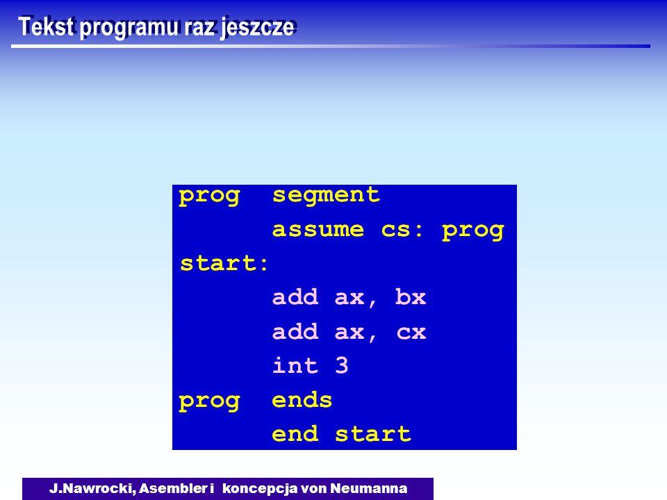 J.Nawrocki, Asembler i koncepcja von Neumanna Tekst programu raz jeszcze prog segment assume cs: prog start: add ax, bx add ax, cx int 3 prog ends end start