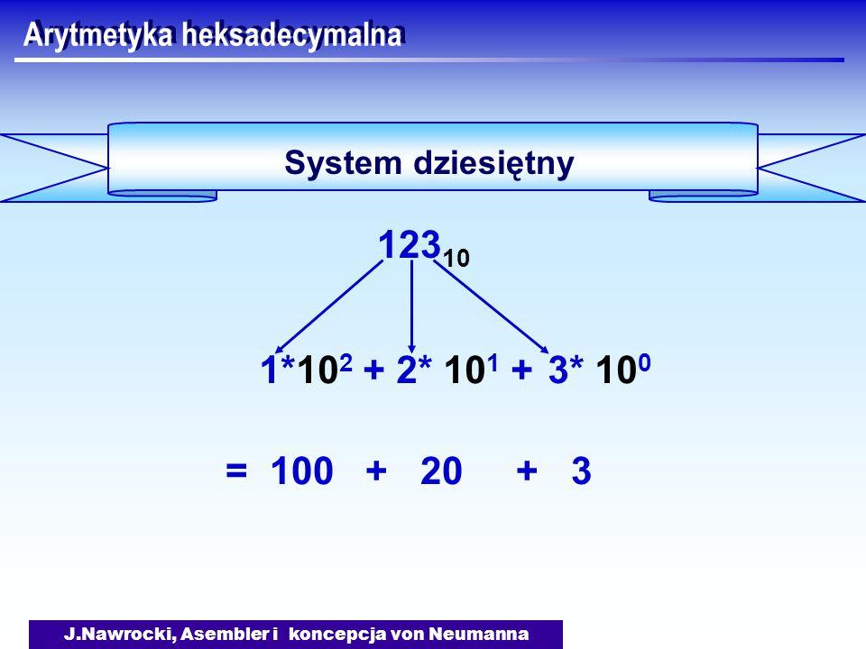 J.Nawrocki, Asembler i koncepcja von Neumanna Arytmetyka heksadecymalna System dziesiętny 123 10 = 100 + 20 + 3 3* 10 0 2* 10 1 +1*10 2 +