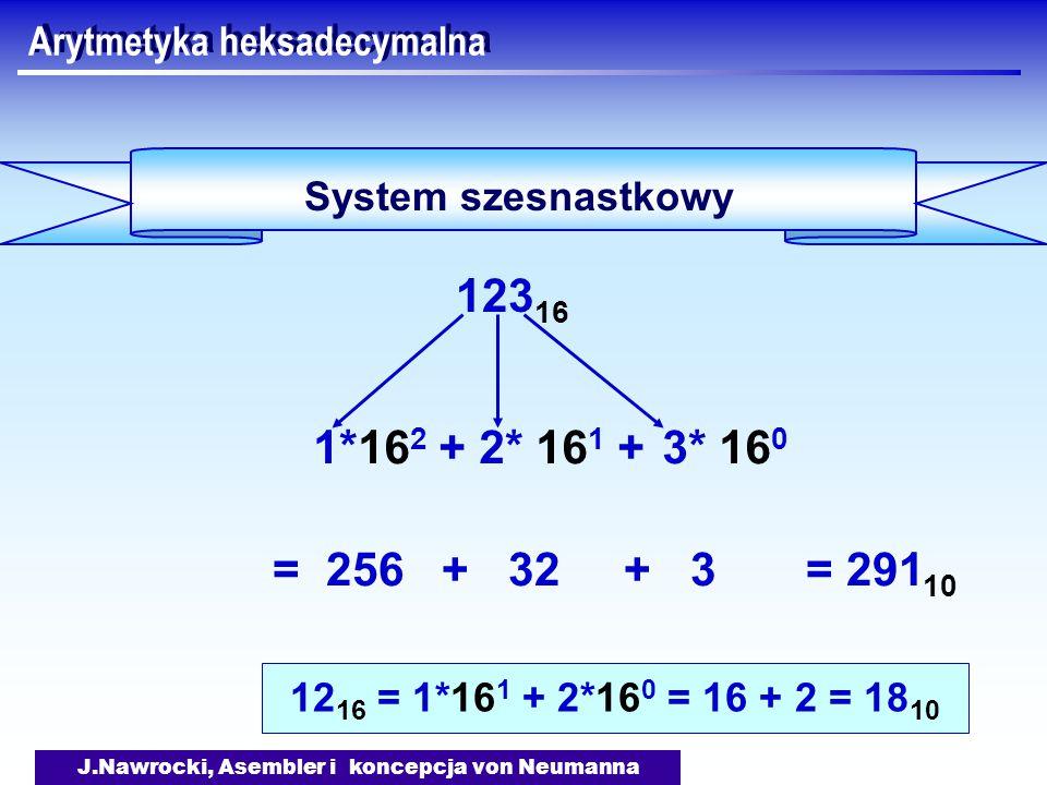 J.Nawrocki, Asembler i koncepcja von Neumanna Arytmetyka heksadecymalna System szesnastkowy 123 16 = 256 + 32 + 3 = 291 10 3* 16 0 2* 16 1 +1*16 2 + 12 16 = 1*16 1 + 2*16 0 = 16 + 2 = 18 10