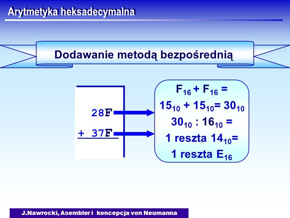 J.Nawrocki, Asembler i koncepcja von Neumanna Arytmetyka heksadecymalna Dodawanie metodą bezpośrednią 28 F + 37 F 28 F + 37 F F 16 + F 16 = 15 10 + 15 10 = 30 10 30 10 : 16 10 = 1 reszta 14 10 = 1 reszta E 16
