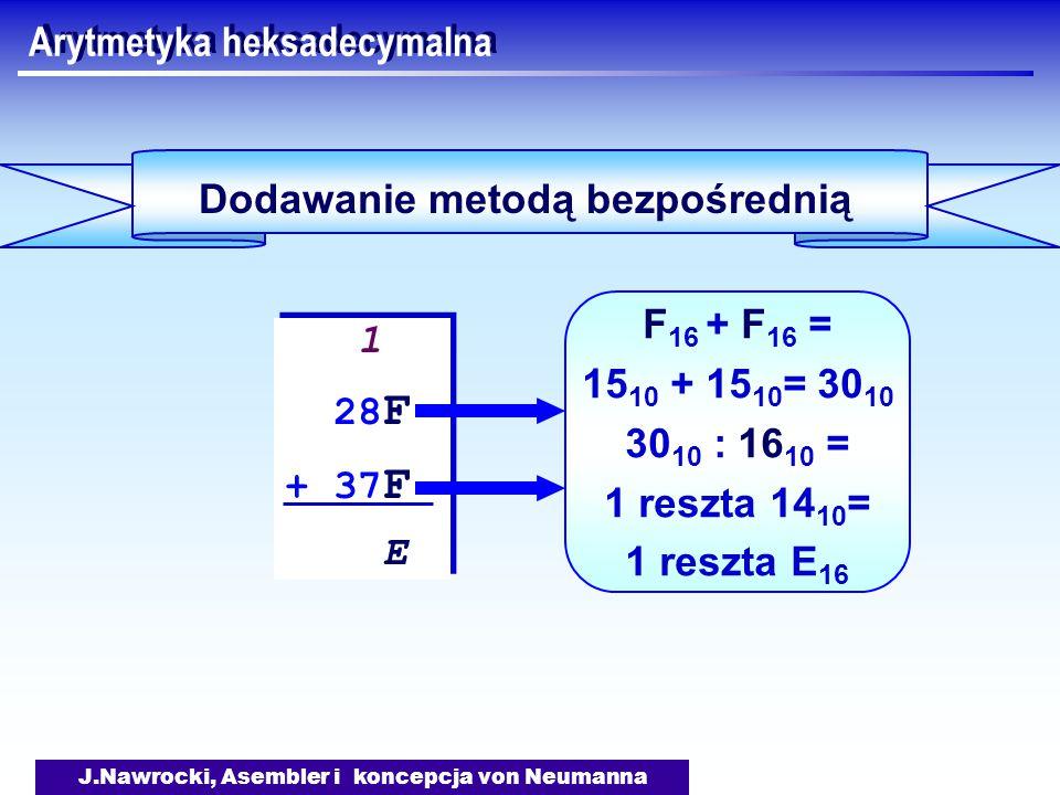J.Nawrocki, Asembler i koncepcja von Neumanna Arytmetyka heksadecymalna Dodawanie metodą bezpośrednią 1 28 F + 37 F E 1 28 F + 37 F E F 16 + F 16 = 15 10 + 15 10 = 30 10 30 10 : 16 10 = 1 reszta 14 10 = 1 reszta E 16