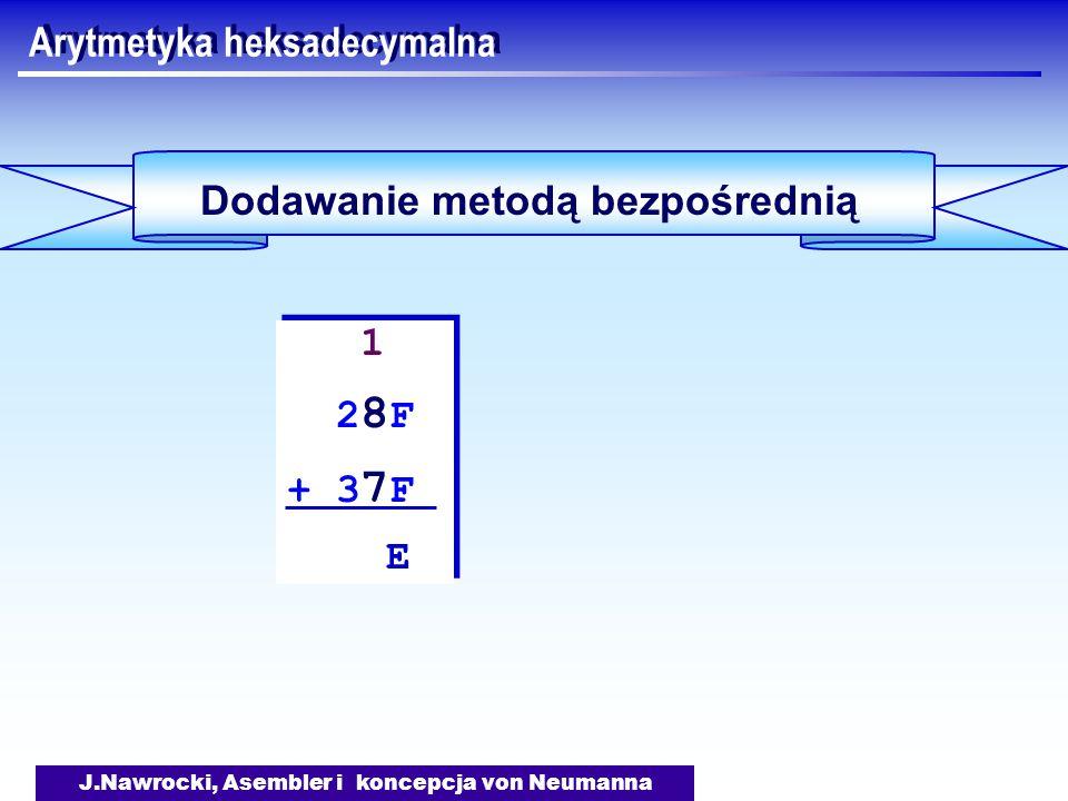 J.Nawrocki, Asembler i koncepcja von Neumanna Arytmetyka heksadecymalna Dodawanie metodą bezpośrednią 1 2 8 F + 3 7 F E 1 2 8 F + 3 7 F E