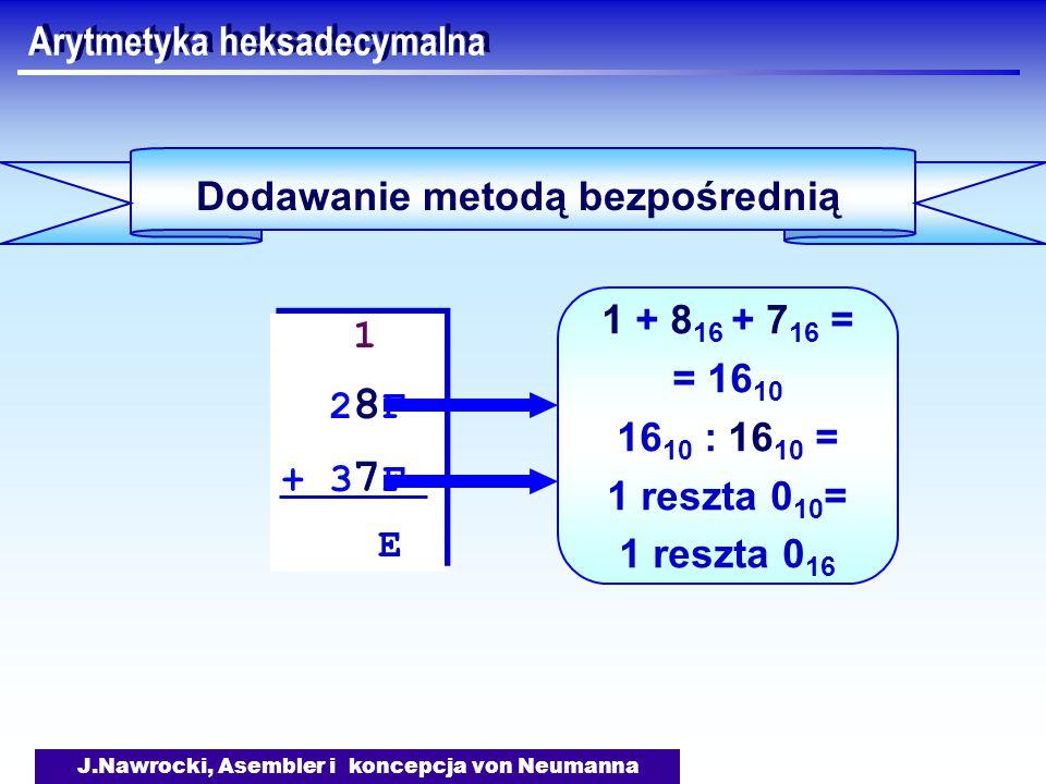 J.Nawrocki, Asembler i koncepcja von Neumanna Arytmetyka heksadecymalna Dodawanie metodą bezpośrednią 1 2 8 F + 3 7 F E 1 2 8 F + 3 7 F E 1 + 8 16 + 7 16 = = 16 10 16 10 : 16 10 = 1 reszta 0 10 = 1 reszta 0 16