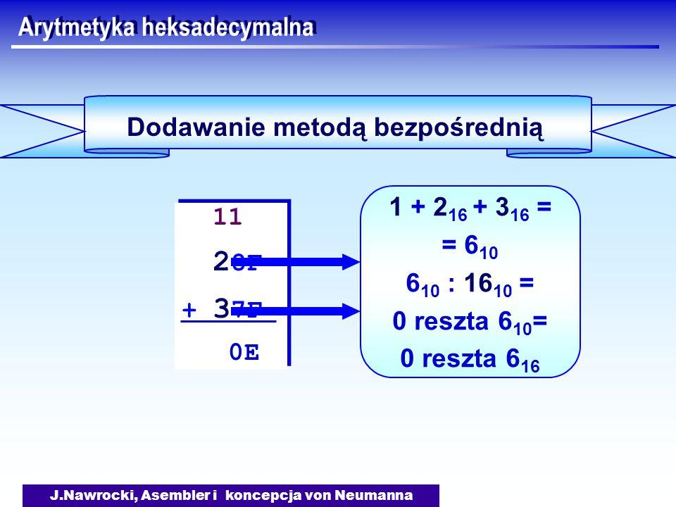 J.Nawrocki, Asembler i koncepcja von Neumanna Arytmetyka heksadecymalna Dodawanie metodą bezpośrednią 11 2 8F + 3 7F 0E 11 2 8F + 3 7F 0E 1 + 2 16 + 3 16 = = 6 10 6 10 : 16 10 = 0 reszta 6 10 = 0 reszta 6 16