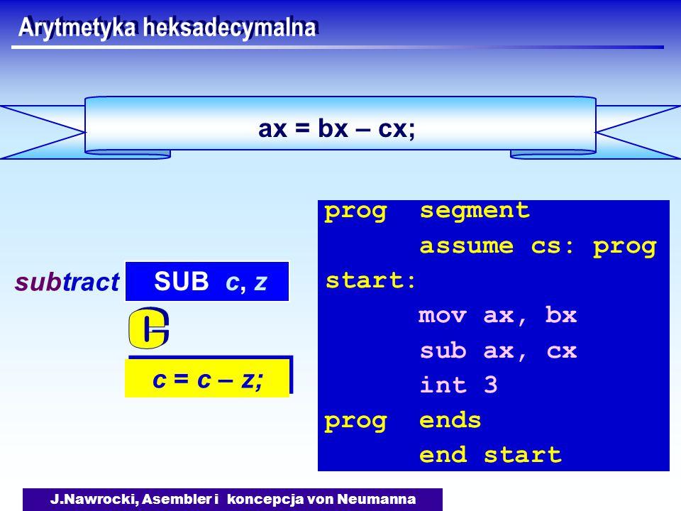 J.Nawrocki, Asembler i koncepcja von Neumanna ax = bx – cx; Arytmetyka heksadecymalna c = c – z; SUB c, z subtract prog segment assume cs: prog start: mov ax, bx sub ax, cx int 3 prog ends end start