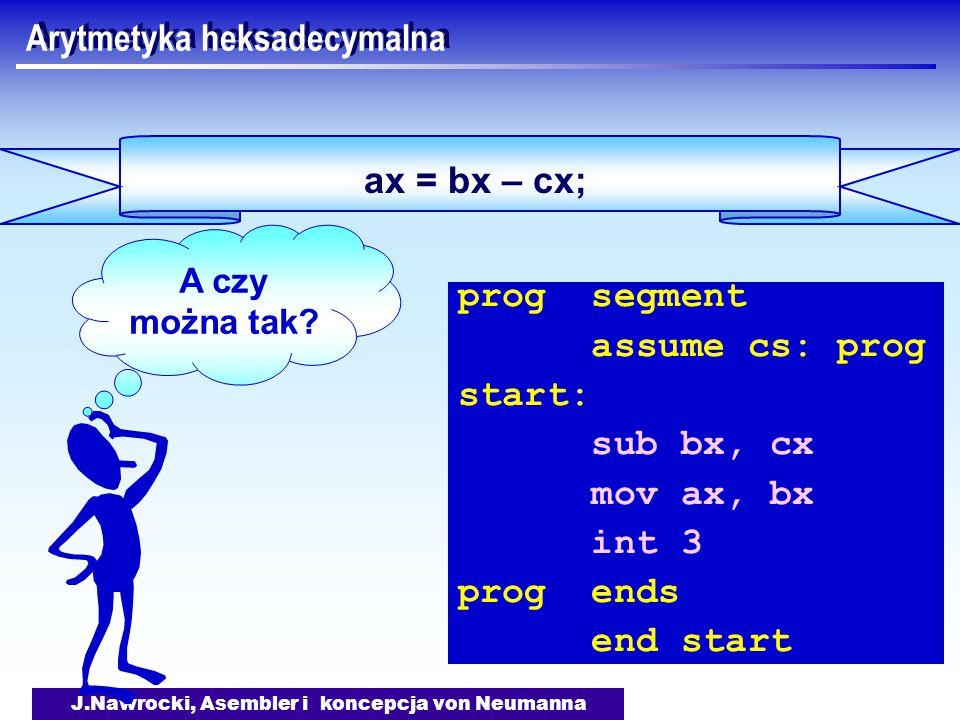 J.Nawrocki, Asembler i koncepcja von Neumanna ax = bx – cx; Arytmetyka heksadecymalna prog segment assume cs: prog start: sub bx, cx mov ax, bx int 3 prog ends end start A czy można tak?