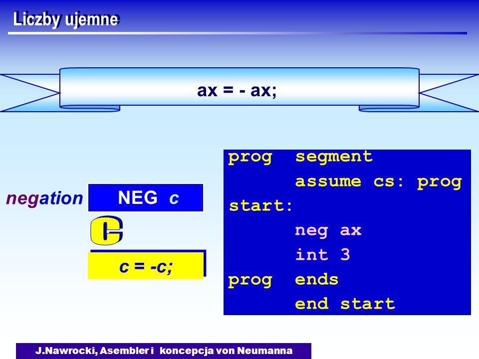 J.Nawrocki, Asembler i koncepcja von Neumanna ax = - ax; Liczby ujemne c = -c; NEG c negation prog segment assume cs: prog start: neg ax int 3 prog ends end start