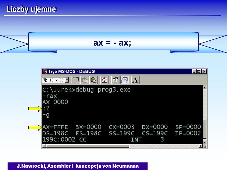 J.Nawrocki, Asembler i koncepcja von Neumanna ax = - ax; Liczby ujemne