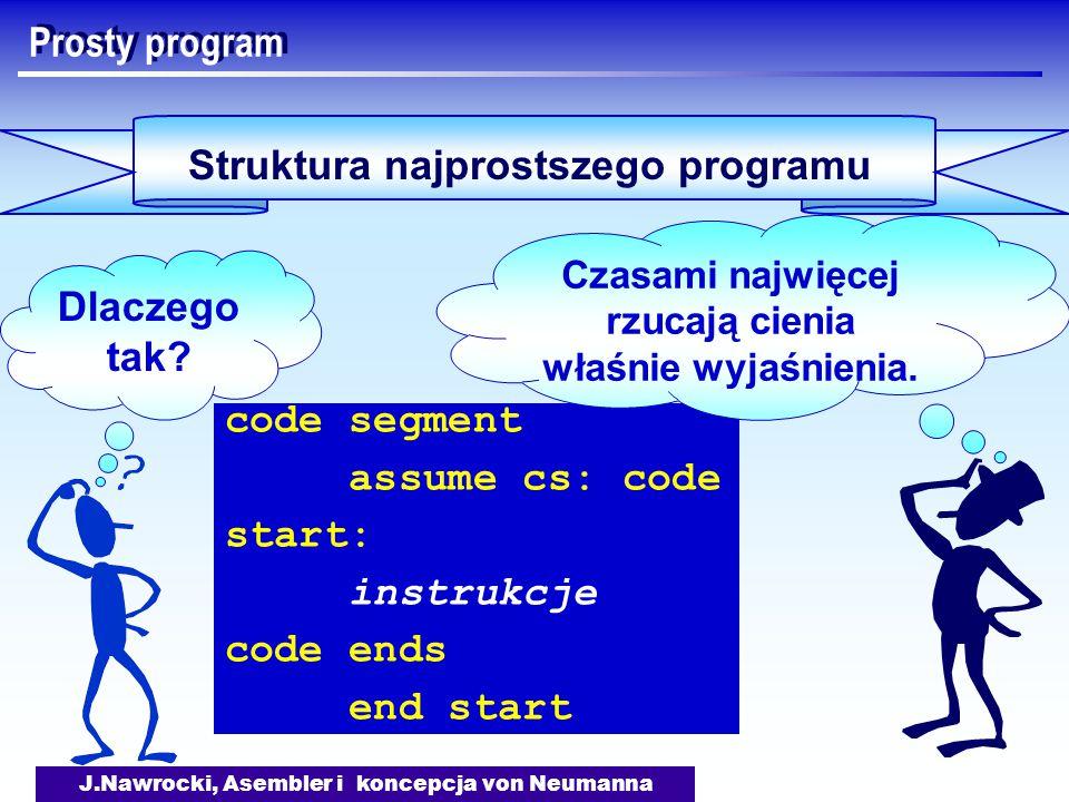 J.Nawrocki, Asembler i koncepcja von Neumanna Prosty program Struktura najprostszego programu code segment assume cs: code start: instrukcje code ends end start Dlaczego tak.