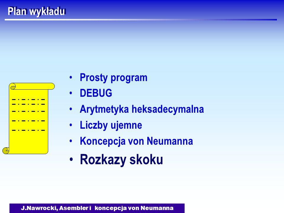 J.Nawrocki, Asembler i koncepcja von Neumanna Plan wykładu Prosty program DEBUG Arytmetyka heksadecymalna Liczby ujemne Koncepcja von Neumanna Rozkazy skoku