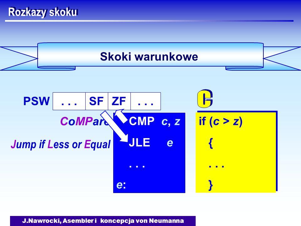 J.Nawrocki, Asembler i koncepcja von Neumanna Skoki warunkowe Rozkazy skoku if (c > z) {...