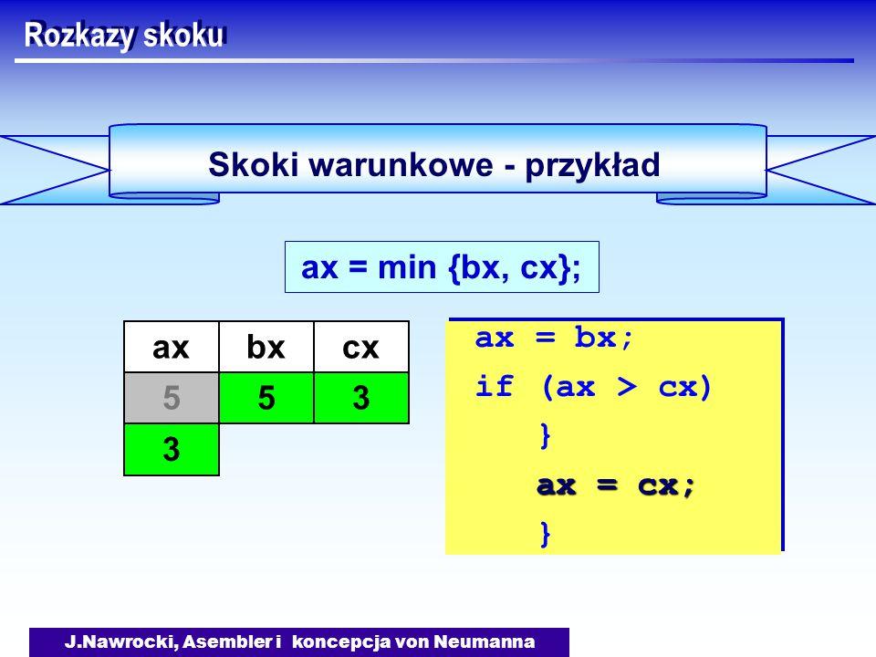 J.Nawrocki, Asembler i koncepcja von Neumanna Skoki warunkowe - przykład Rozkazy skoku ax = min {bx, cx}; ax = bx; if (ax > cx) } ax = cx; } ax = bx; if (ax > cx) } ax = cx; } axbx 55 cx 3 3