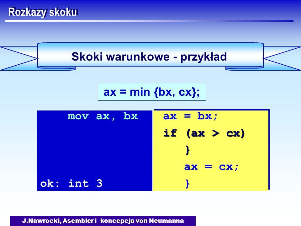J.Nawrocki, Asembler i koncepcja von Neumanna Skoki warunkowe - przykład Rozkazy skoku ax = min {bx, cx}; mov ax, bx ok: int 3 ax = bx; if (ax > cx) } ax = cx; } ax = bx; if (ax > cx) } ax = cx; }