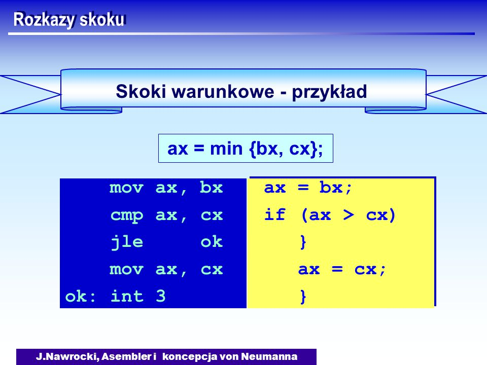 J.Nawrocki, Asembler i koncepcja von Neumanna Skoki warunkowe - przykład Rozkazy skoku ax = min {bx, cx}; mov ax, bx cmp ax, cx jle ok mov ax, cx ok: int 3 ax = bx; if (ax > cx) } ax = cx; } ax = bx; if (ax > cx) } ax = cx; }