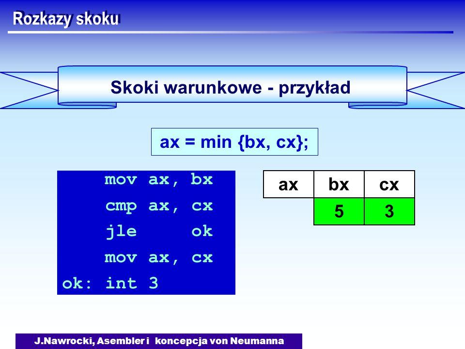 J.Nawrocki, Asembler i koncepcja von Neumanna Skoki warunkowe - przykład Rozkazy skoku ax = min {bx, cx}; mov ax, bx cmp ax, cx jle ok mov ax, cx ok: int 3 axbx 5 cx 3