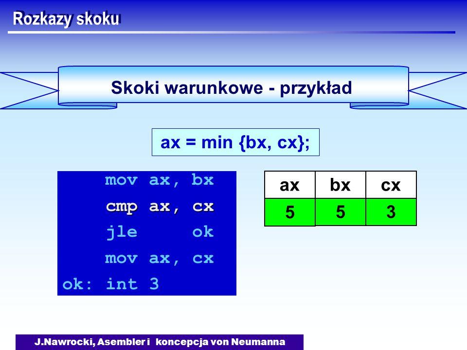 J.Nawrocki, Asembler i koncepcja von Neumanna Skoki warunkowe - przykład Rozkazy skoku ax = min {bx, cx}; mov ax, bx cmp ax, cx jle ok mov ax, cx ok: int 3 axbx 5 cx 3 5