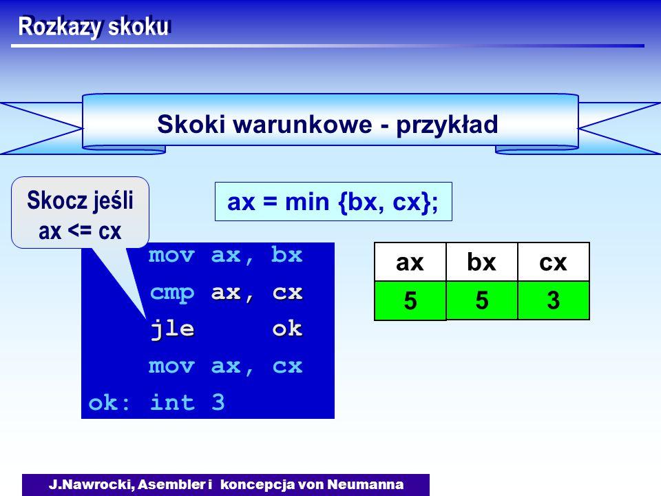 J.Nawrocki, Asembler i koncepcja von Neumanna Skoki warunkowe - przykład Rozkazy skoku ax = min {bx, cx}; mov ax, bx ax, cx cmp ax, cx jle ok mov ax, cx ok: int 3 axbx 5 cx 3 5 Skocz jeśli ax <= cx