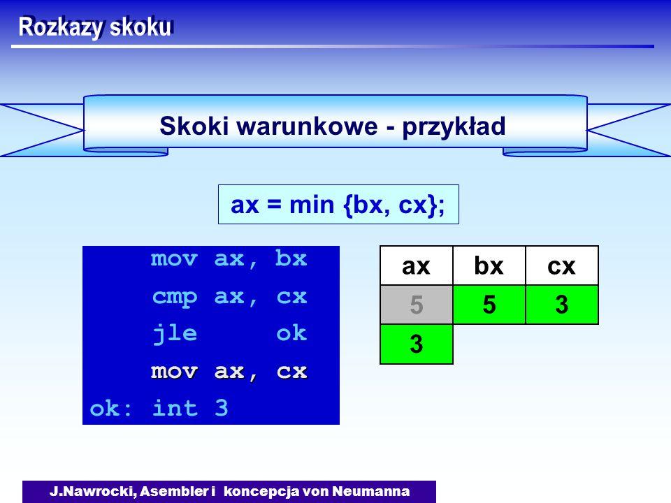 J.Nawrocki, Asembler i koncepcja von Neumanna Skoki warunkowe - przykład Rozkazy skoku ax = min {bx, cx}; mov ax, bx cmp ax, cx jle ok mov ax, cx ok: int 3 axbx 5 cx 3 5 3