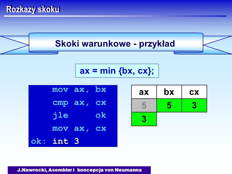 J.Nawrocki, Asembler i koncepcja von Neumanna Skoki warunkowe - przykład Rozkazy skoku ax = min {bx, cx}; mov ax, bx cmp ax, cx jle ok mov ax, cx int 3 ok: int 3 axbx 5 cx 3 5 3