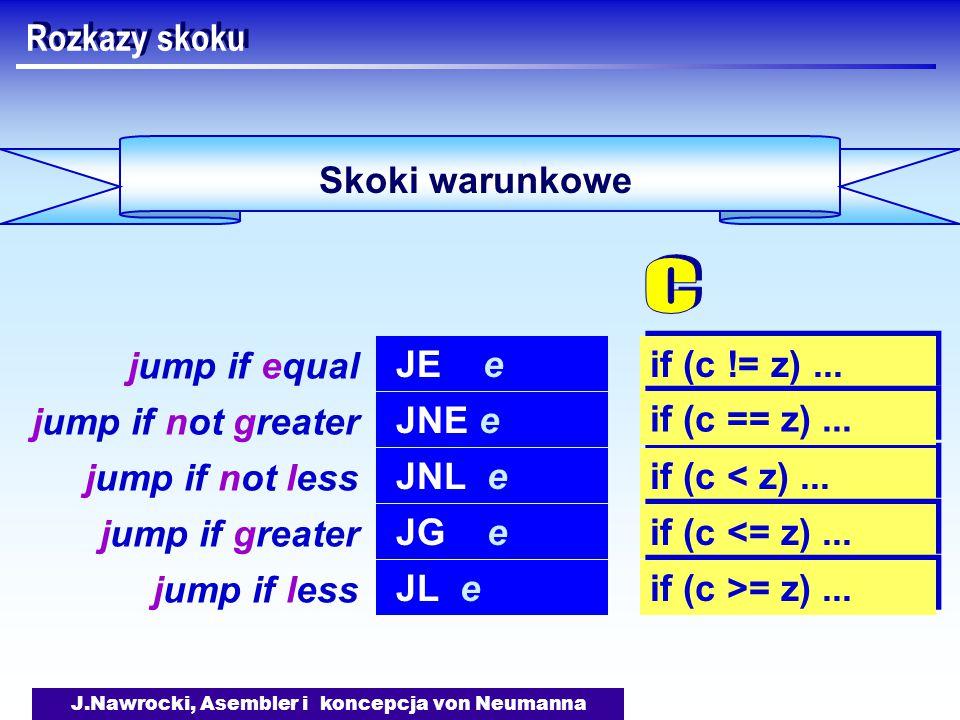 J.Nawrocki, Asembler i koncepcja von Neumanna Skoki warunkowe Rozkazy skoku JE e jump if equal if (c != z)...