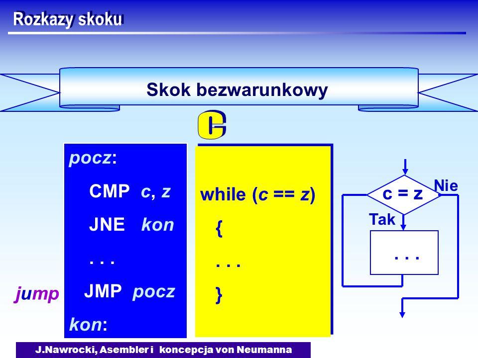J.Nawrocki, Asembler i koncepcja von Neumanna Skok bezwarunkowy Rozkazy skoku while (c == z) {...