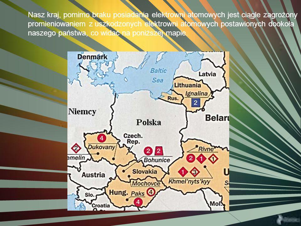 Nasz kraj, pomimo braku posiadania elektrowni atomowych jest ciągle zagrożony promieniowaniem z uszkodzonych elektrowni atomowych postawionych dookoła naszego państwa, co widać na poniższej mapie.