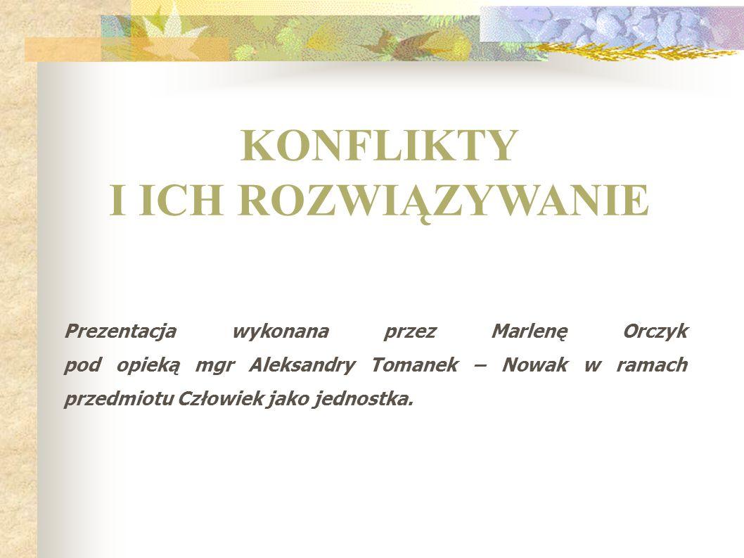 Prezentacja wykonana przez Marlenę Orczyk pod opieką mgr Aleksandry Tomanek – Nowak w ramach przedmiotu Człowiek jako jednostka. KONFLIKTY I ICH ROZWI