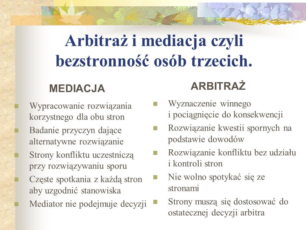 Arbitraż i mediacja czyli bezstronność osób trzecich. Wypracowanie rozwiązania korzystnego dla obu stron Badanie przyczyn dające alternatywne rozwiąza