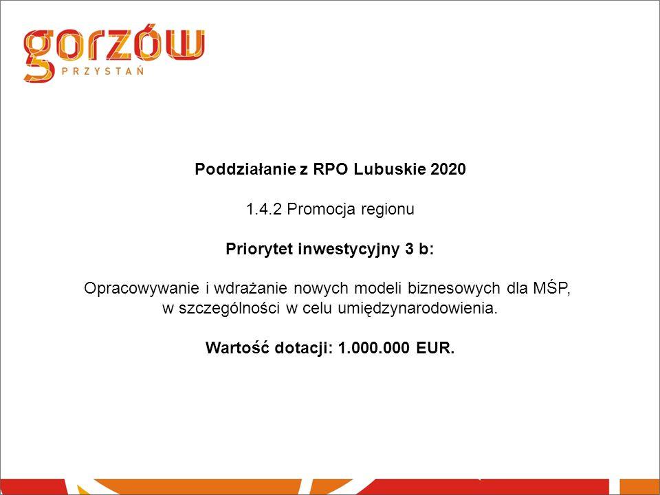 Poddziałanie z RPO Lubuskie 2020 1.4.2 Promocja regionu Priorytet inwestycyjny 3 b: Opracowywanie i wdrażanie nowych modeli biznesowych dla MŚP, w szczególności w celu umiędzynarodowienia.