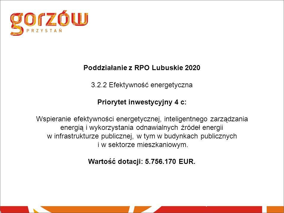 Poddziałanie z RPO Lubuskie 2020 3.2.2 Efektywność energetyczna Priorytet inwestycyjny 4 c: Wspieranie efektywności energetycznej, inteligentnego zarządzania energią i wykorzystania odnawialnych źródeł energii w infrastrukturze publicznej, w tym w budynkach publicznych i w sektorze mieszkaniowym.