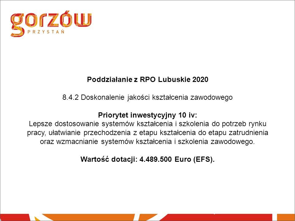 Poddziałanie z RPO Lubuskie 2020 8.4.2 Doskonalenie jakości kształcenia zawodowego Priorytet inwestycyjny 10 iv: Lepsze dostosowanie systemów kształcenia i szkolenia do potrzeb rynku pracy, ułatwianie przechodzenia z etapu kształcenia do etapu zatrudnienia oraz wzmacnianie systemów kształcenia i szkolenia zawodowego.