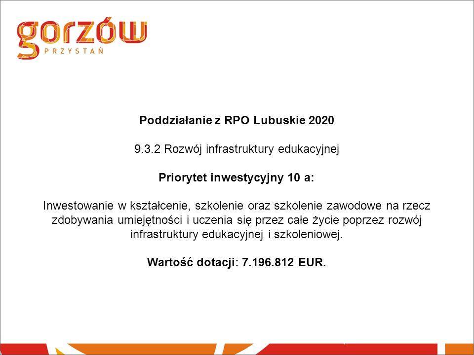Poddziałanie z RPO Lubuskie 2020 9.3.2 Rozwój infrastruktury edukacyjnej Priorytet inwestycyjny 10 a: Inwestowanie w kształcenie, szkolenie oraz szkolenie zawodowe na rzecz zdobywania umiejętności i uczenia się przez całe życie poprzez rozwój infrastruktury edukacyjnej i szkoleniowej.