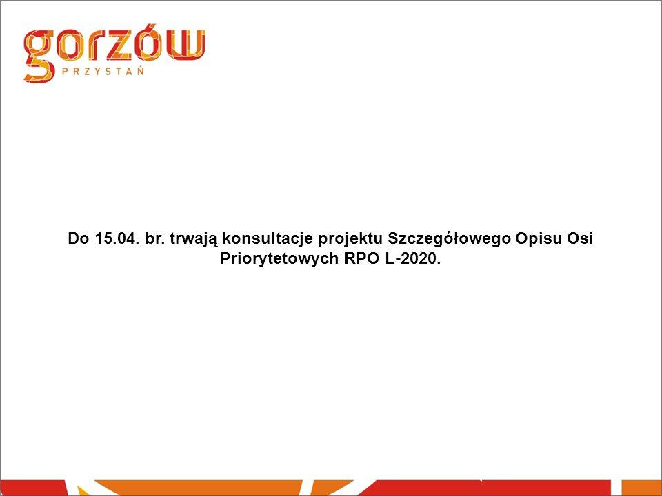 Do 15.04. br. trwają konsultacje projektu Szczegółowego Opisu Osi Priorytetowych RPO L-2020.