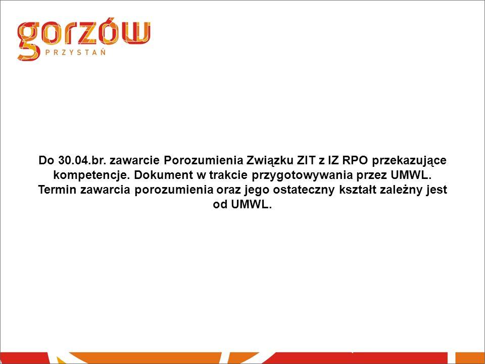 Do 30.04.br. zawarcie Porozumienia Związku ZIT z IZ RPO przekazujące kompetencje.