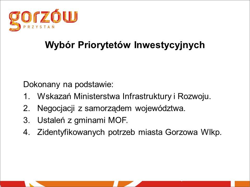 Wybór Priorytetów Inwestycyjnych Dokonany na podstawie: 1.Wskazań Ministerstwa Infrastruktury i Rozwoju.
