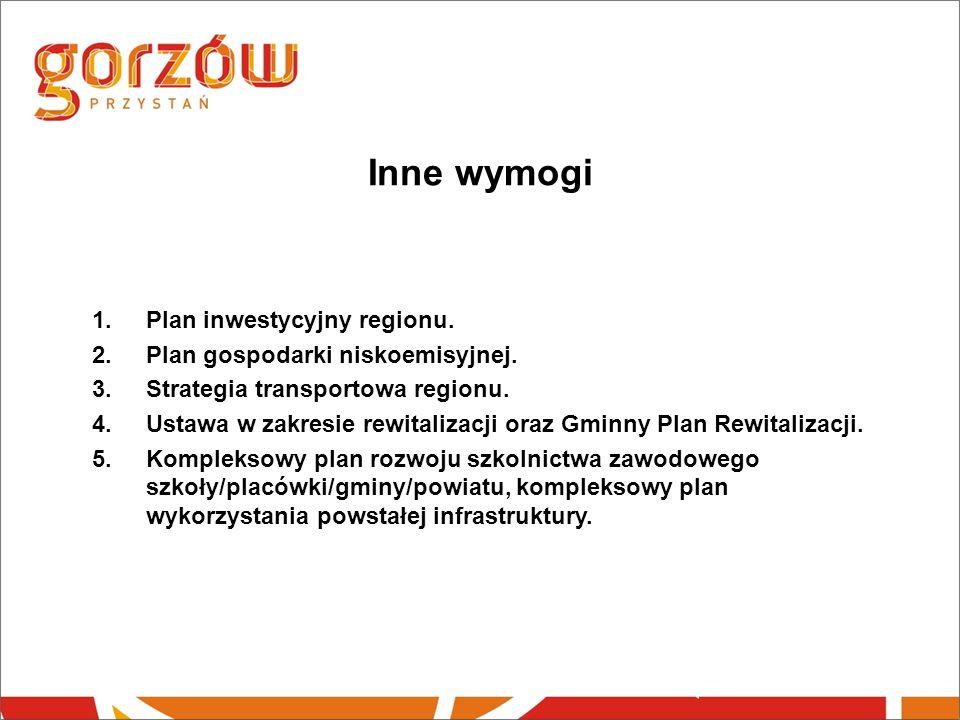 Inne wymogi 1.Plan inwestycyjny regionu. 2.Plan gospodarki niskoemisyjnej.