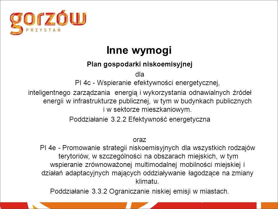 Inne wymogi Plan gospodarki niskoemisyjnej dla PI 4c - Wspieranie efektywności energetycznej, inteligentnego zarządzania energią i wykorzystania odnawialnych źródeł energii w infrastrukturze publicznej, w tym w budynkach publicznych i w sektorze mieszkaniowym.