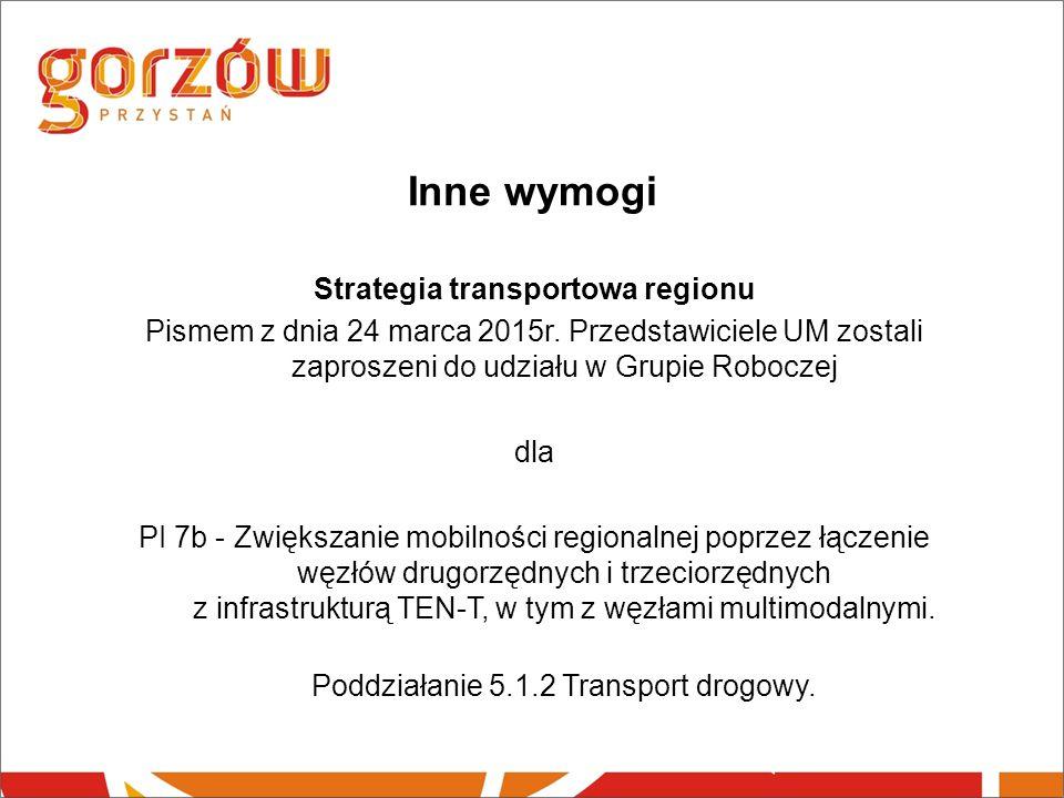 Inne wymogi Strategia transportowa regionu Pismem z dnia 24 marca 2015r.