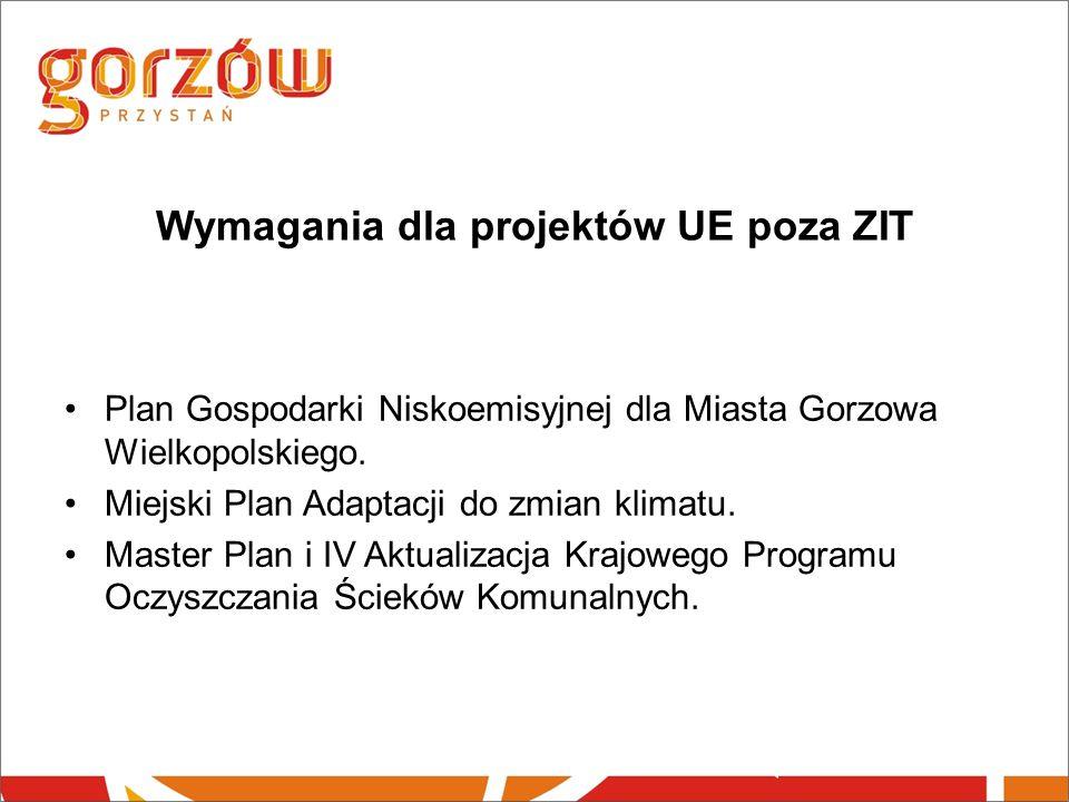 Wymagania dla projektów UE poza ZIT Plan Gospodarki Niskoemisyjnej dla Miasta Gorzowa Wielkopolskiego.
