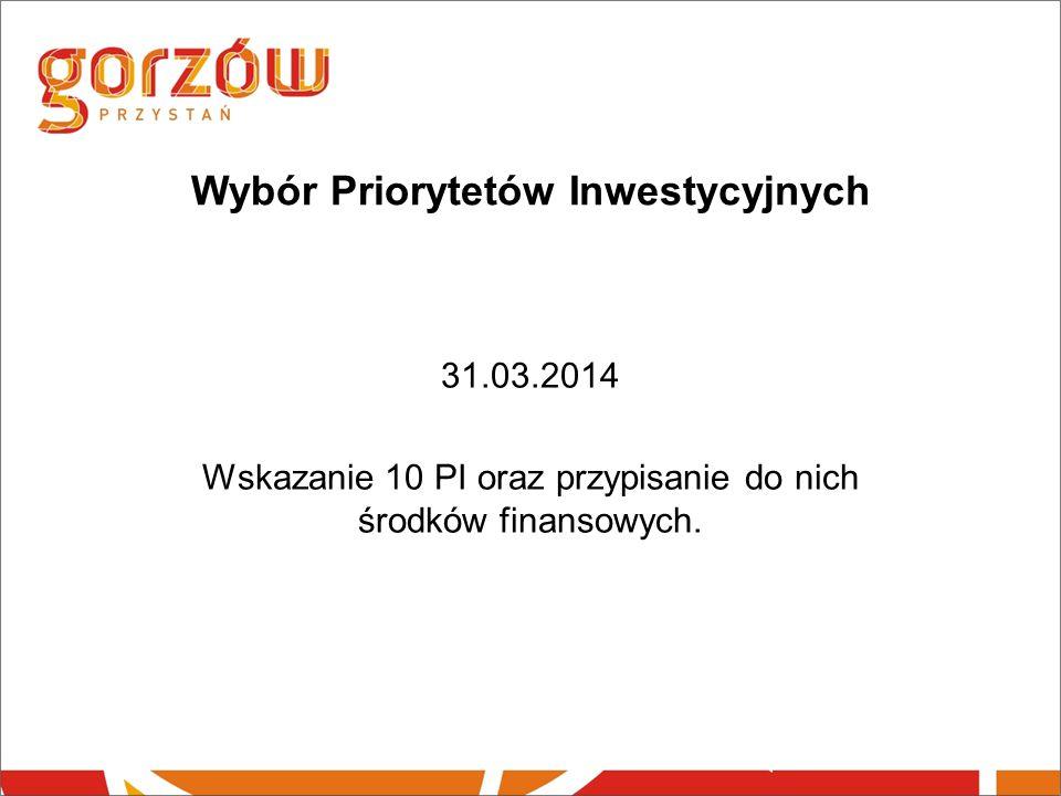 Wybór Priorytetów Inwestycyjnych 31.03.2014 Wskazanie 10 PI oraz przypisanie do nich środków finansowych.