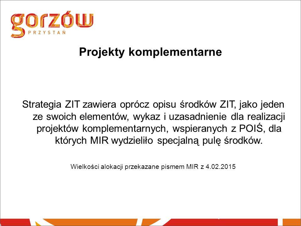 Projekty komplementarne Strategia ZIT zawiera oprócz opisu środków ZIT, jako jeden ze swoich elementów, wykaz i uzasadnienie dla realizacji projektów komplementarnych, wspieranych z POIŚ, dla których MIR wydzieliło specjalną pulę środków.