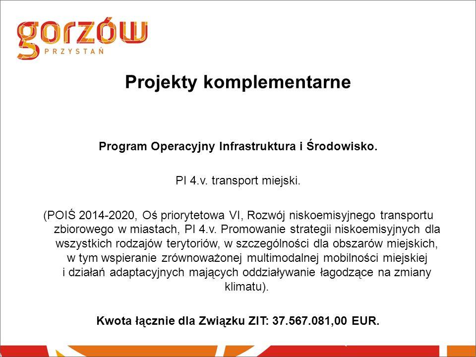 Projekty komplementarne Program Operacyjny Infrastruktura i Środowisko.