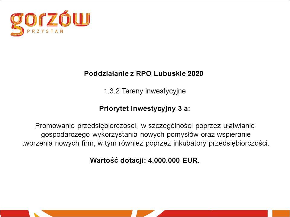 Poddziałanie z RPO Lubuskie 2020 1.3.2 Tereny inwestycyjne Priorytet inwestycyjny 3 a: Promowanie przedsiębiorczości, w szczególności poprzez ułatwianie gospodarczego wykorzystania nowych pomysłów oraz wspieranie tworzenia nowych firm, w tym również poprzez inkubatory przedsiębiorczości.