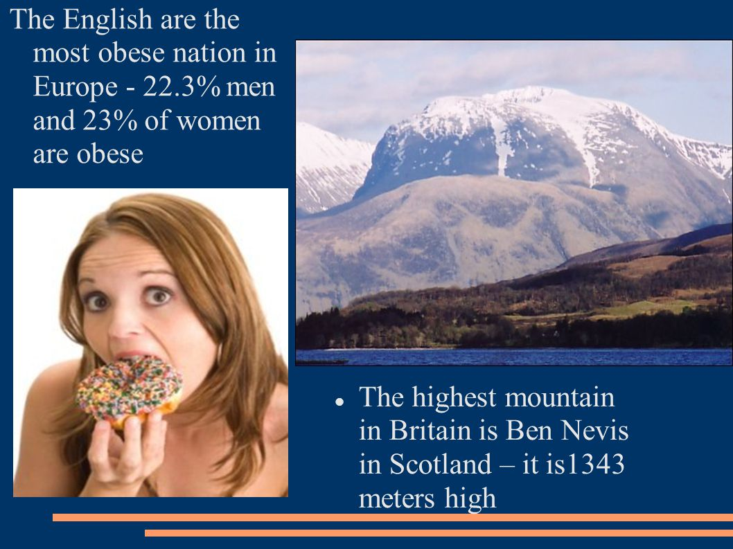 The English are the most obese nation in Europe - 22.3% men and 23% of women are obese The highest mountain in Britain is Ben Nevis in Scotland – it is1343 meters high