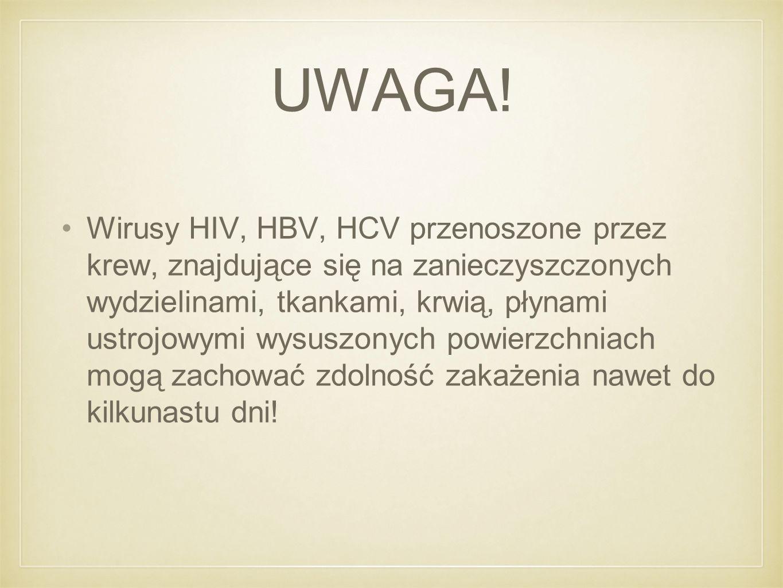 UWAGA! Wirusy HIV, HBV, HCV przenoszone przez krew, znajdujące się na zanieczyszczonych wydzielinami, tkankami, krwią, płynami ustrojowymi wysuszonych